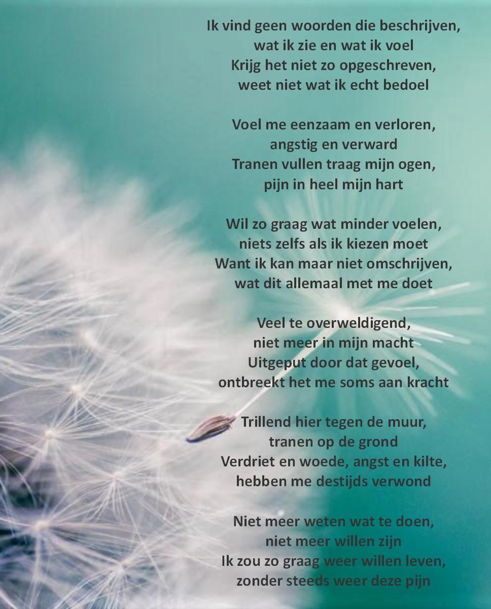 Wijzerkracht-gedicht-emoties Zelfbeschadiging